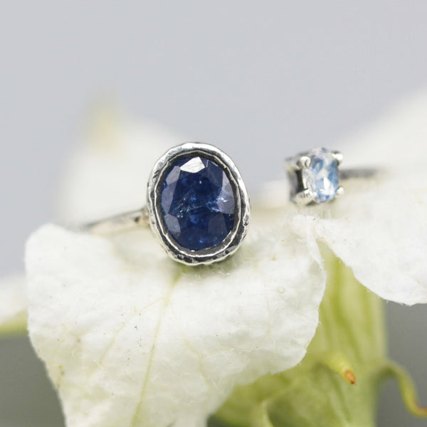 Oval faceted blue sapphire ring and tiny moonstone with sterling silver band