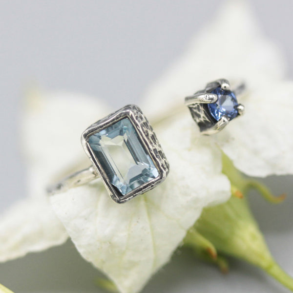 Rectangle blue topaz ring and blue sapphire in bezel and prongs setting with sterling silver texture band - Metal Studio Jewelry