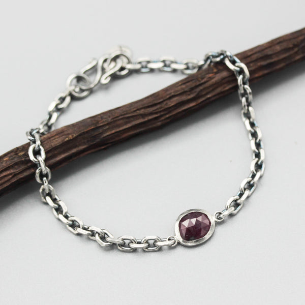 Bracelet,Tiny faceted red ruby in silver bezel setting with sterling silver oxidized rolo chain