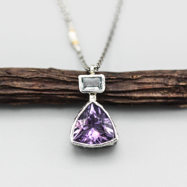 Trillion faceted amethyst pendant necklace in silver bezel setting with rectangle blue topaz on the top - Metal Studio Jewelry