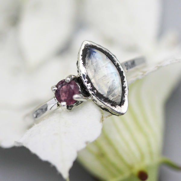 Marquise moonstone ring with pink tourmaline side set gems in bezel and prongs setting - Metal Studio Jewelry