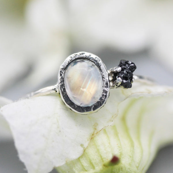 Oval cabochon moonstone ring and tiny rough diamond on the side with sterling silver hammer texture band - Metal Studio Jewelry