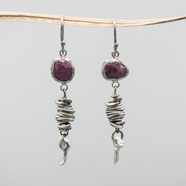 Rose cut ruby earrings in silver bezel setting with silver nest and sterling silver hooks