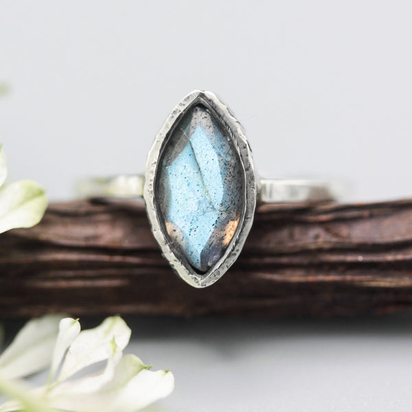 Marquis Labradorite ring in silver bezel setting with sterling silver band