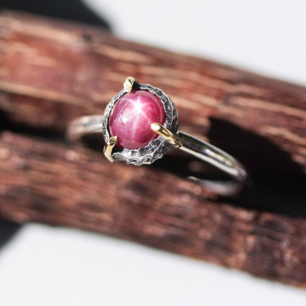 Oval natural red star ruby ring  in silver bezel and brass prongs setting with sterling silver band - Metal Studio Jewelry