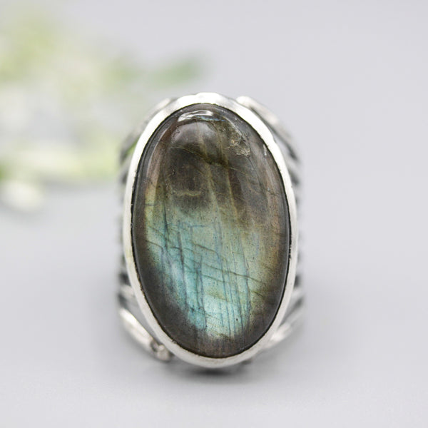 Oval Labradorite ring in silver bezel setting with sterling silver skeleton multi wrap band - Metal Studio Jewelry