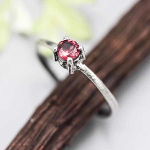 Tiny round garnet ring in prongs setting with sterling silver scratch texture band - Metal Studio Jewelry