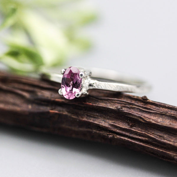 Oval Pink tourmaline ring in prongs setting with sterling silver scratch texture band - Metal Studio Jewelry