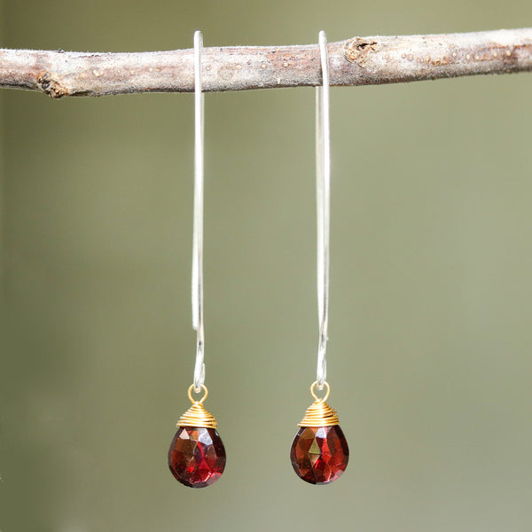 long garnet drop earrings, dangle earrings on sterling silver hypoallergenic setting, dainty earrings, boho earrings, birthstone earrings - Metal Studio Jewelry