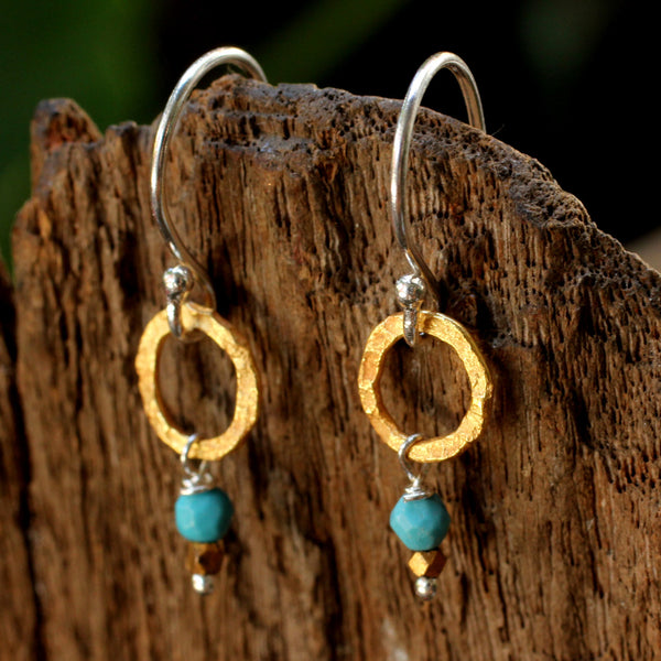 Sterling silver earrings with hand hammered brass hoop and turquoise drop - Metal Studio Jewelry