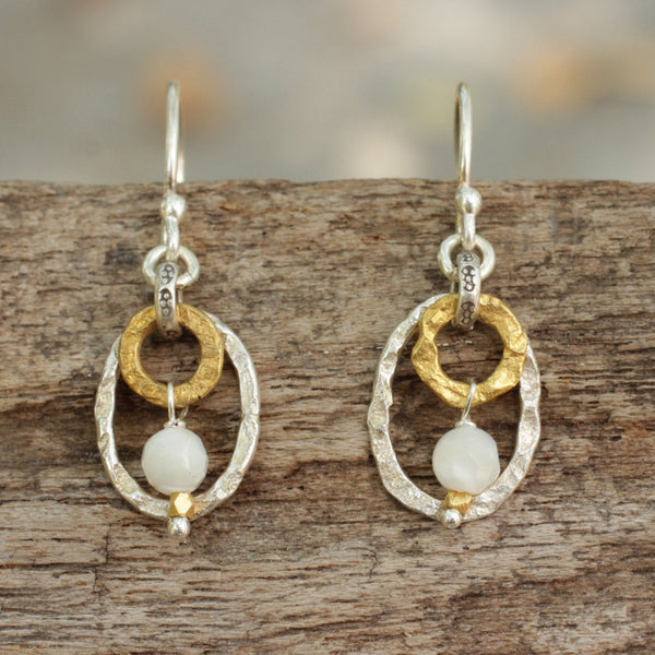 Double shape drop earrings in sterling silver and oxidized brass