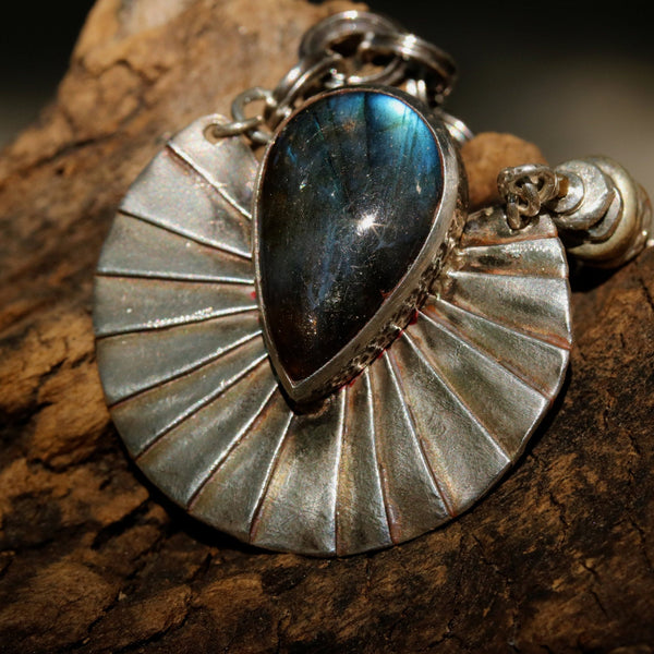 Labradorite teardrop in bezel setting on silver fan with silver accents and oxidized silver chain - Metal Studio Jewelry