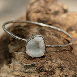 Druzy zippered texture bangle with silver bezel set gemstone and brass accent prongs - Metal Studio Jewelry