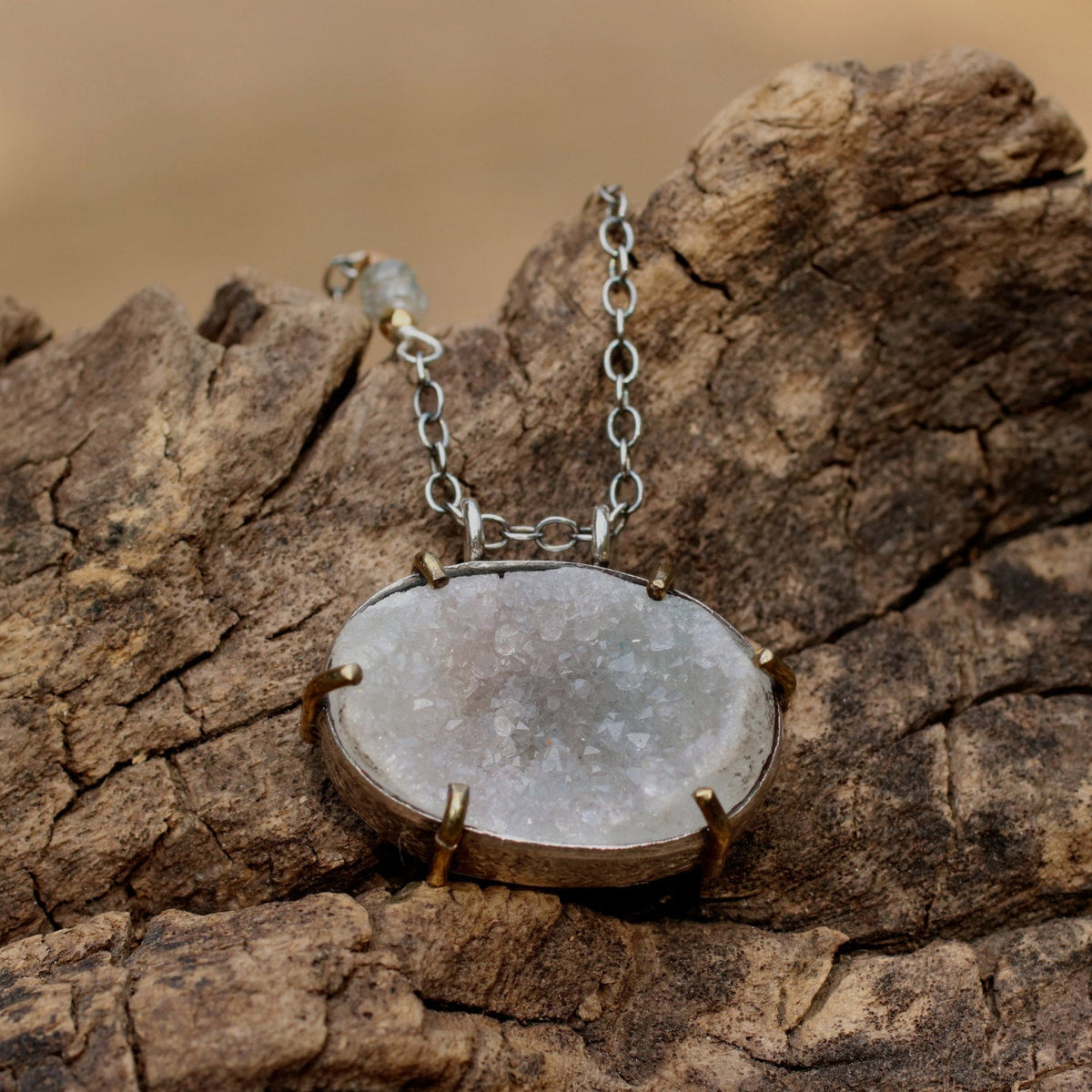 Oval cut lightly coloured druzy pendant necklace with silver chain