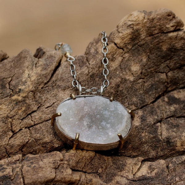 Oval cut lightly coloured raw druzy pendant necklace with silver chain - Metal Studio Jewelry