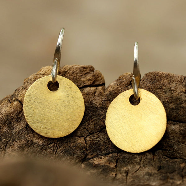 Gold plated brass discs earrings with matte finish and hangs on sterling silver hook - Metal Studio Jewelry