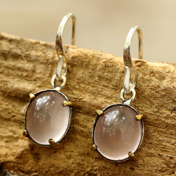 Oval cabochon Rose quartz earrings in silver bezel setting with polished brass accent prongs