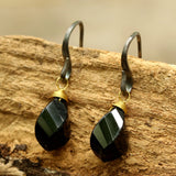 Onyx drops twist faceted earrings with oxidized sterling silver hooks - Metal Studio Jewelry