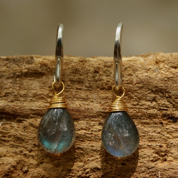 Teardrop cabochon labradorite earrings with sterling silver hooks - Metal Studio Jewelry