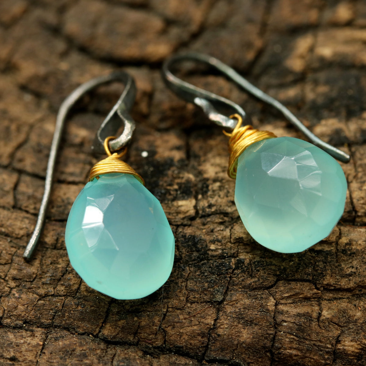blue chalcedony drops faceted earrings with oxidized sterling silver hooks