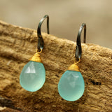 blue chalcedony drops faceted earrings with oxidized sterling silver hooks(FBA)