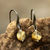 Round rutilated quartz earrings with oxidized sterling silver hooks - Metal Studio Jewelry