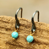 Turquoise faceted bead earrings with oxidized sterling silver hooks - Metal Studio Jewelry