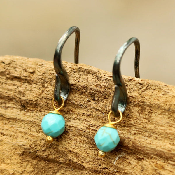 Turquoise faceted bead earrings with oxidized sterling silver hooks