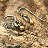 Gold plated 3 microns earrings with oxidized sterling silver hooks - Metal Studio Jewelry
