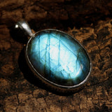 Labradorite oval pendant in silver bezel setting with texture and oxidized - Metal Studio Jewelry