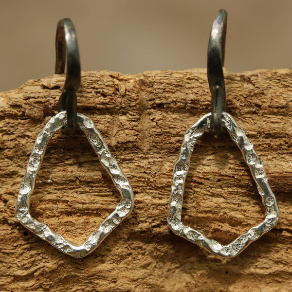 Earrings Sterling silver freeform hoops with hammered textures and oxidized silver hooks - Metal Studio Jewelry