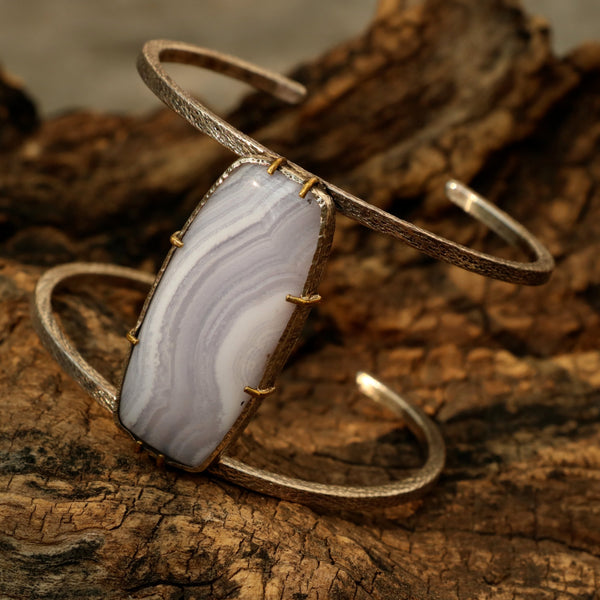 Huge Blue agate bangle bracelet with double silver bangle and gemstone set in silver and brass setting - Metal Studio Jewelry