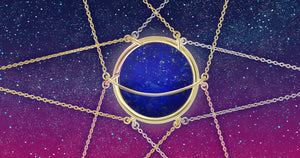 Lapis Lazuli Dancing Orbit necklace by Gems In Style Jewellery