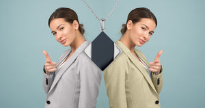 Two women in business suits and geometric jewellery by Gems In Style