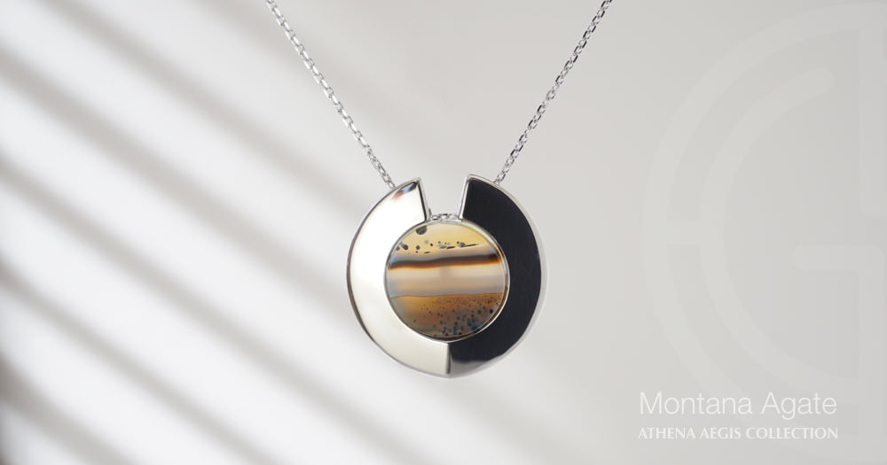 Athena Aegis silver necklace with Montana Agate gemstone by Gems In Style Jewellery