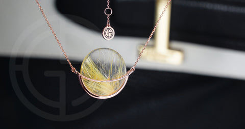 Rutilated Quartz gemstone necklace, Dancing Orbit collection by Gems In Style Jewellery