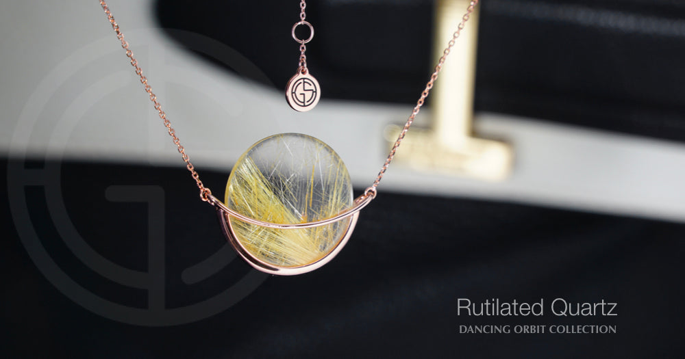 Rutilated Quartz gemstone, Dancing Orbit necklace