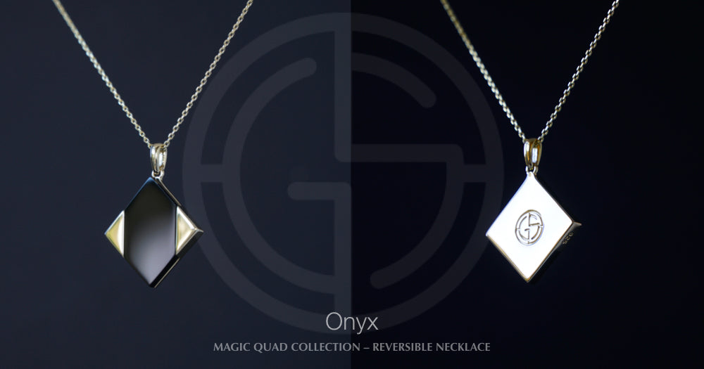 Magic Quad reversible silver necklace with Onyx gemstone. Gems In Style Jewellery