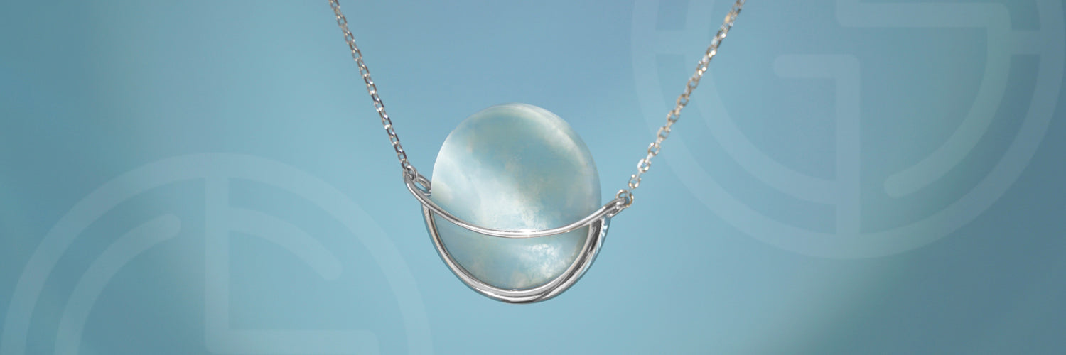 Dancing Orbit necklace with Larimar Gemstone