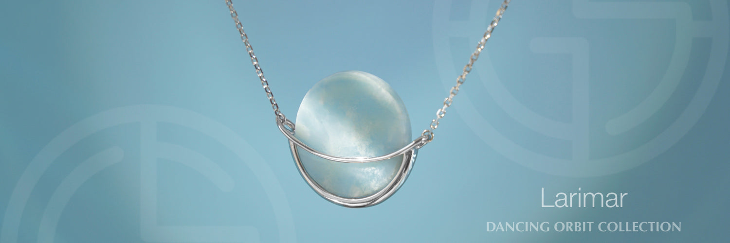 Larimar silver necklace Dancing Orbit collection by Gems In Style Jewellery
