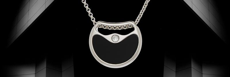 Double Agent Silver Necklace with Onyx Gemstone