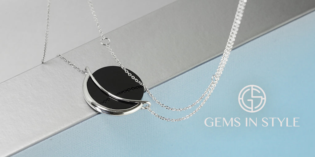 Black Onyx Dancing Orbit Necklace by Gems In Style Jewellery