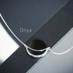Onyx gemstone necklace by Gems In Style. 925 Sterling Silver, Rhodium plating. Minimalist geometric jewellery.