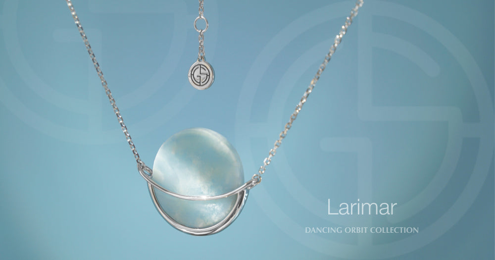 Larimar gemstone in silver Dancing Orbit necklace
