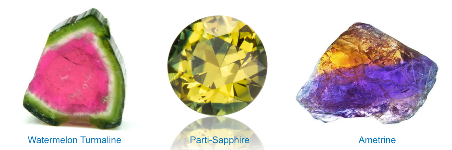 Parti-coloured gemstones