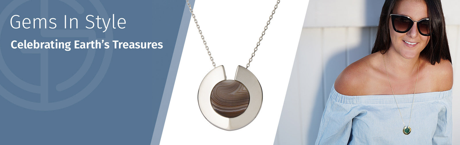 Agate necklace by Gems In Style, 925 Sterling Silver, Rhodium plating. Australian Gemstone Jewellery Brand