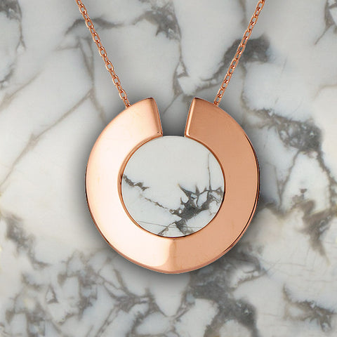 Howlite gemstone necklace by Gems In Style, 925 Sterling Silver, 14K Rose Gold plating. Modern Minimalist Gemstone Jewellery.