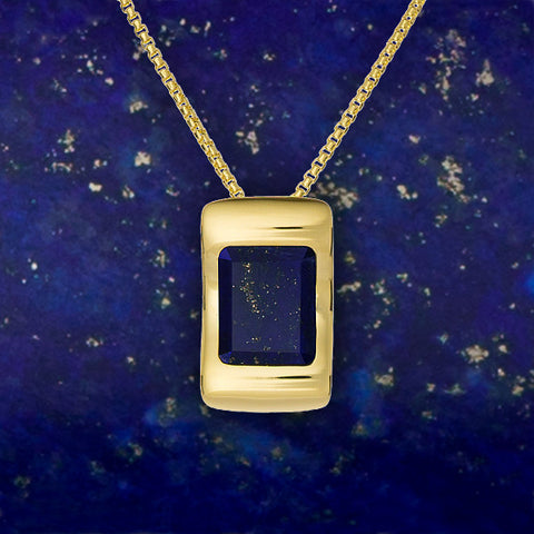 Lapis Lazuli gemstone necklace by Gems In Style. 925 Sterling Silver, 14K Gold plating. Modern Minimalist Gemstone Jewellery