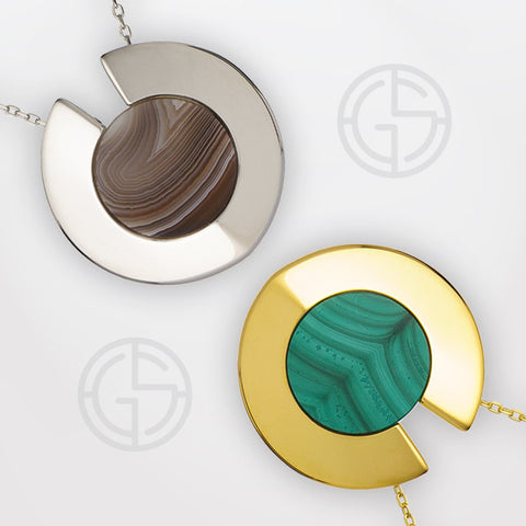 Agate and Malachite gemstone necklaces, Athena Aegis collection by Gems In Style.