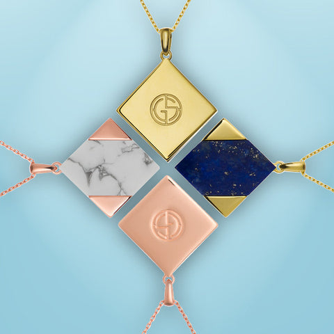 Howlite and Lapis Lazuli reversible necklaces, Magic Quad collection by Gems In Style. 925 Silver, gold plating
